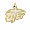 Texas El Paso Miners 14K Yellow Gold Natural Finish Cut Out Logo Charm