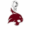 Texas State Bobcats Silver Logo and School Color Drop Charm