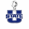Utah State Aggies Silver Logo and School Color Drop Charm