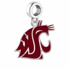 Washington State Cougars Silver Logo and School Color Drop Charm