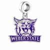 Weber State Wildcats Silver Logo and School Color Drop Charm