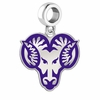 West Chester Rams Silver Logo and School Color Drop Charm