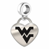 West Virginia Engraved Heart Dangle Charm