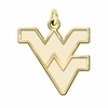 West Virginia Mountaineers 14K Yellow Gold Natural Finish Cut Out Logo Charm