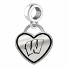 Wisconsin Badgers Border Heart Dangle Charm