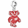 Wisconsin Badgers Silver Logo and School Color Drop Charm