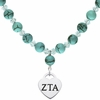Zeta Tau Alpha Heart and Turquoise Necklace