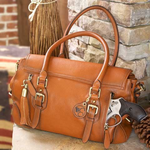 Aged Brown Leather Satchel