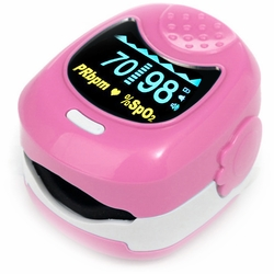 CMS-50 QB Pediatric Fingertip Pulse Oximeter with Alarm - Pink