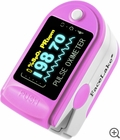 CMS-50D Fingertip Pulse Oximeter - Blood Oxygen Monitor (Pink) - with Case