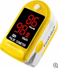 CMS-50DL Fingertip Pulse Oximeter - Blood Oxygen Monitor (Yellow) - with Case