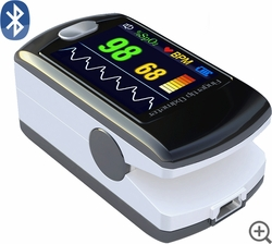 CMS-50E Fingertip Pulse Oximeter - Blood Oxygen Monitor - Alarm/Bluetooth