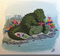 LITTLE 'ZILLA'S WISH (PRINTS) BY MARY J. HOFFMAN - SOLD OUT