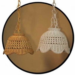 "12"" Hanging Rattan Wicker Scalloped Lamp"