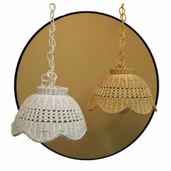 15� Hanging Rattan Wicker Lamp