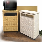 3-Drawer Wicker Chest with Swivel TV Top