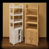 6Tier Oblong Wicker Floor Shelf