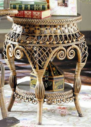 Aet Antique Wicker End Table