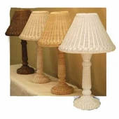 Candlestick Rattan Wicker Table Lamp