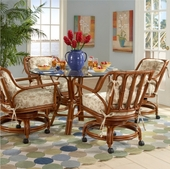 Glass Top Rattan Dining Sets W Caster Chairs