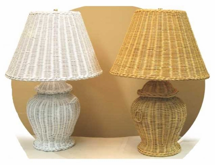 Cookie Jar Rattan Wicker Table Lamp