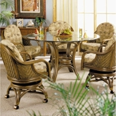 Glass Top Rattan Dining Sets wCaster Chairs