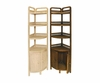 Corner Standing Wicker Shelf w/Cabinet