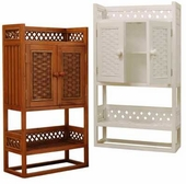 Cottage Bathroom Wicker Cabinet