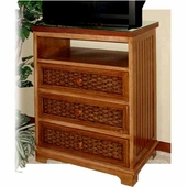 Cottage Wicker 3 Drawer Swivel TV Chest