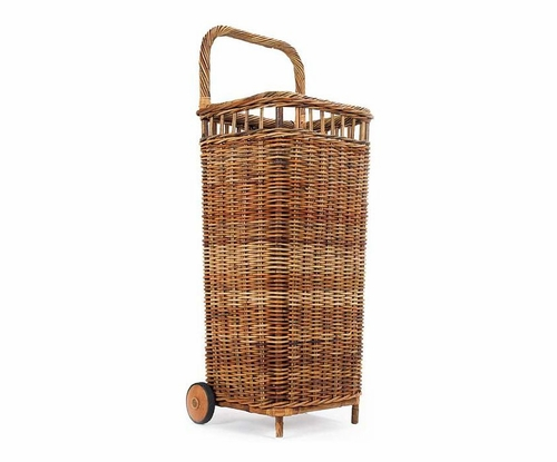 French Country Market Rattan Basket Cart