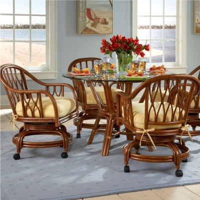 Lattice Rattan Dining Set W Caster Chairs