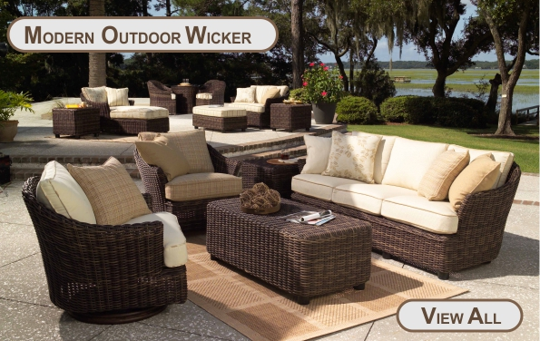 Sectionals, Contemporary Outdoor Wicker Conversation Sets