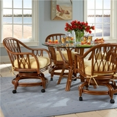 Rattan Dining Sets With Caster Chairs