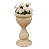 Round Wicker Pedestal Planter