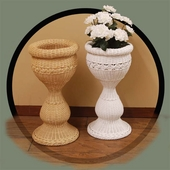 Round Wicker Planter