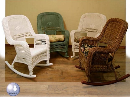 Sanibel High Back Outdoor Wicker Rocking Chair