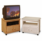 Swivel Top Wicker TV Cart