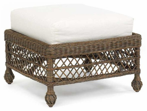 Vineyard's Cushioned Wicker Ottoman