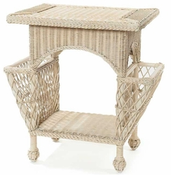 Wicker Magazine End Table