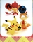 Deck Box with Pikachu, Pansear, & Scraggy - Japanese Pokemon Deck Box