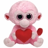 Julep The Pink Monkey With Heart (Medium Size) - TY Beanie Boos