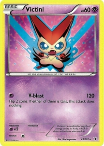 Pokemon Noble Victories Rare Card - Victini 43/101