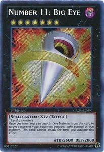 YuGiOh Secret Rare Card - Number 11: Big Eye GAOV-EN090
