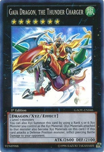 YuGiOh Super Rare Card - Gaia Dragon, the Thunder Charger GAOV-EN046