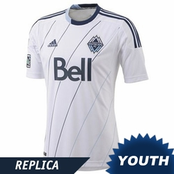 Vancouver Whitecaps FC adidas Youth Replica Short Sleeve Primary Jersey - White/Deep Sea <br><b><i>Choose a player or Customize your jersey!</i></b>