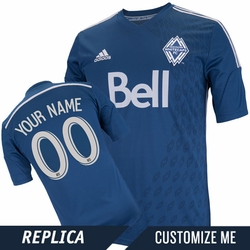 Vancouver Whitecaps FC adidas 2014 Replica Custom Player Short Sleeve Alternate Jersey - Deep Sea/Silver<br><b><i>Choose a player or Customize your jersey!</i></b>