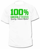 100% Green and White T-Shirt