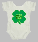 100% Irish Clover Lucky Ireland  St. Patrick's Day Baby Infant  Body Suit
