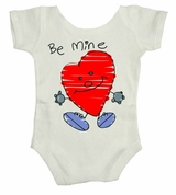 Be Mine Heart Drawing Cute Valentine Baby Body Suit