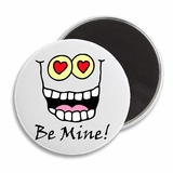 "Be Mine Heart Funny Cartoon Face Valentine's 2.25"" Fridge Magnet"